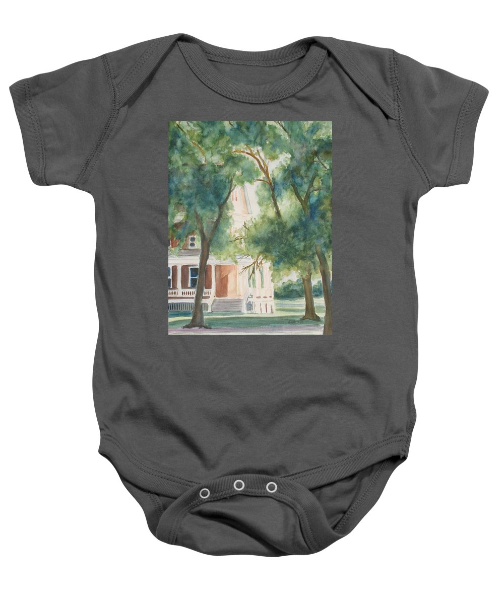 House Baby Onesie featuring the painting The Sunlit Porch by Jenny Armitage
