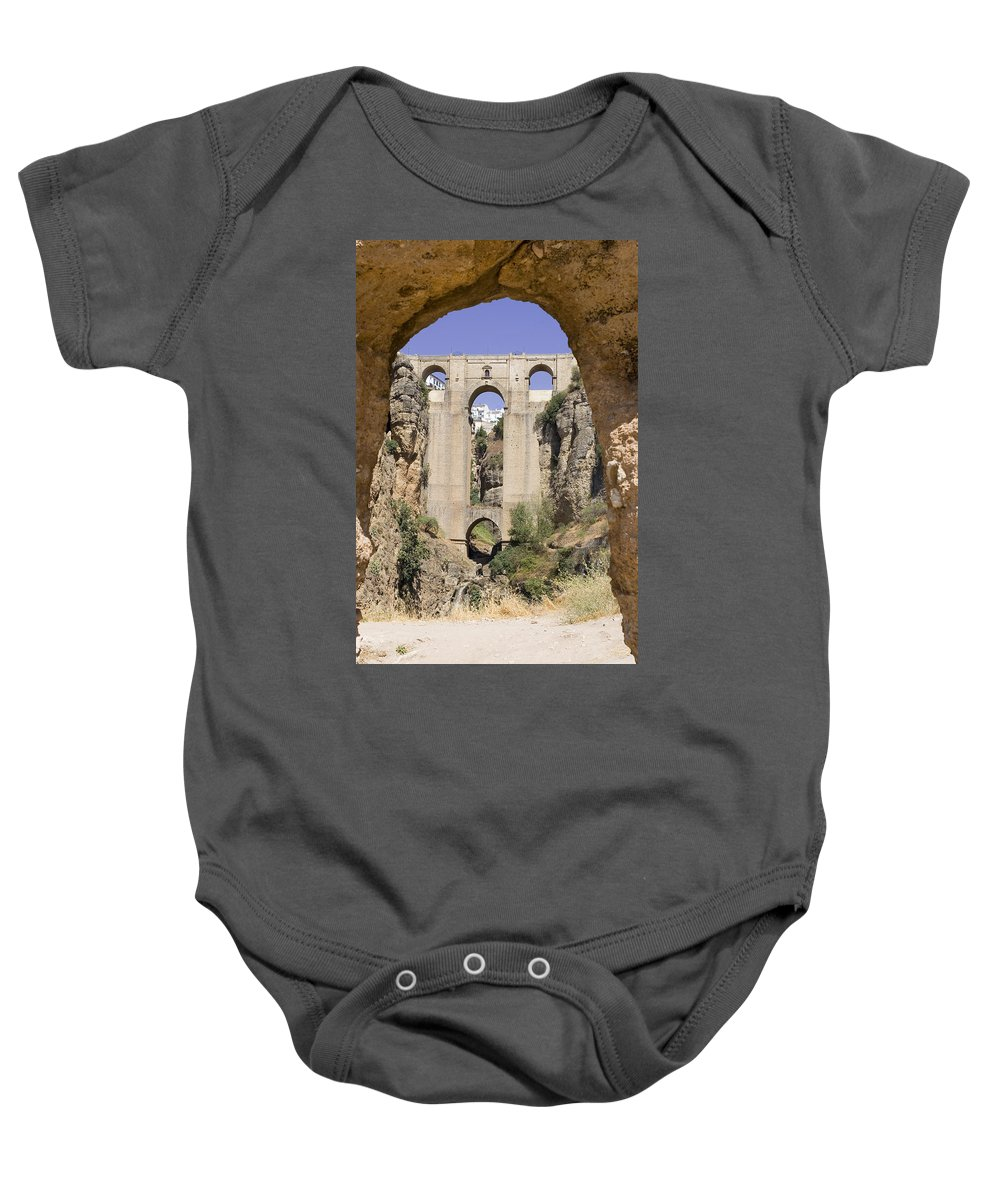 Ronda Baby Onesie featuring the photograph The Tajo De Ronda And Puente Nuevo Bridge Andalucia Spain Europe by Mal Bray