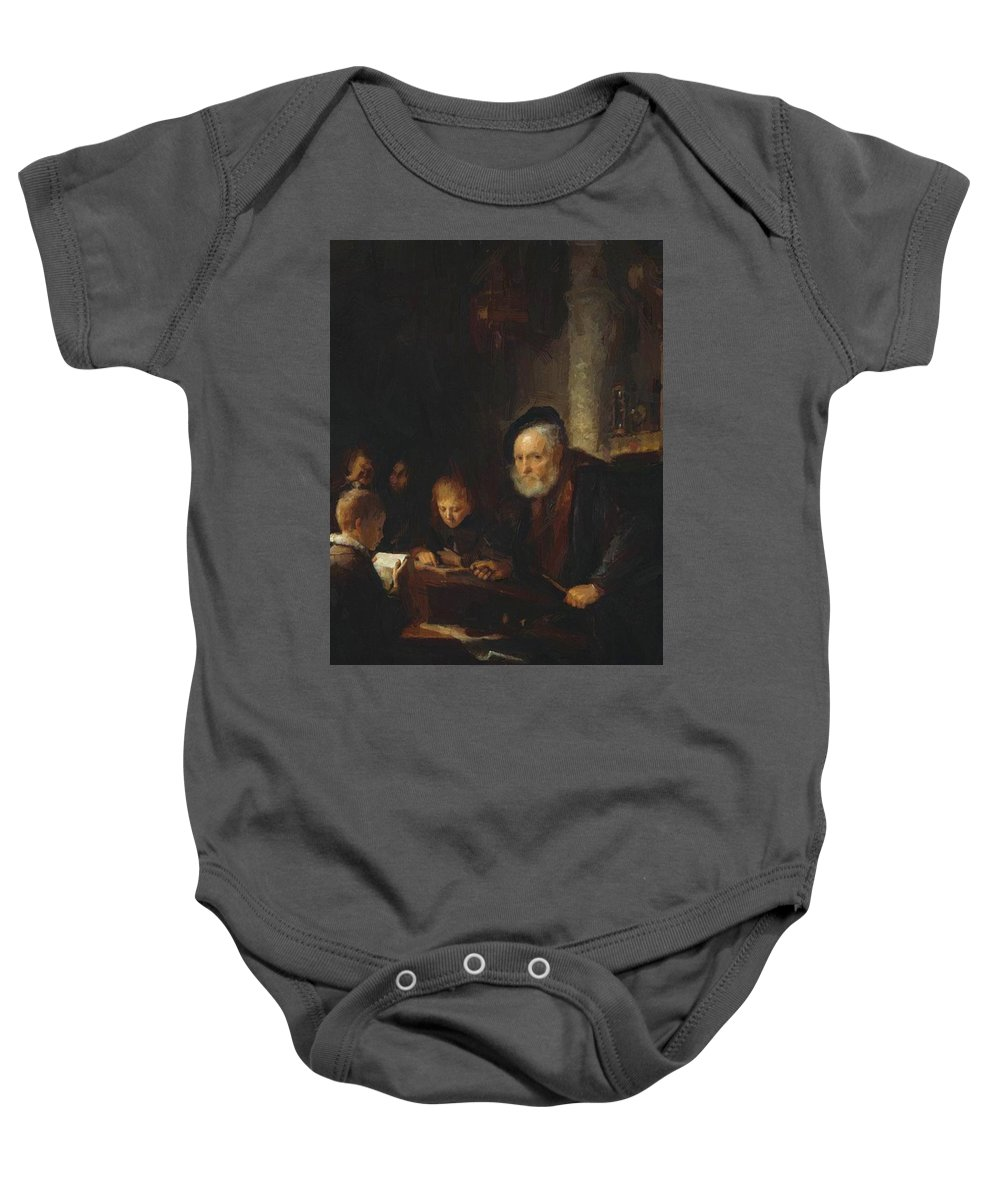 The Baby Onesie featuring the painting The Teacher 1645 by Dou Gerrit