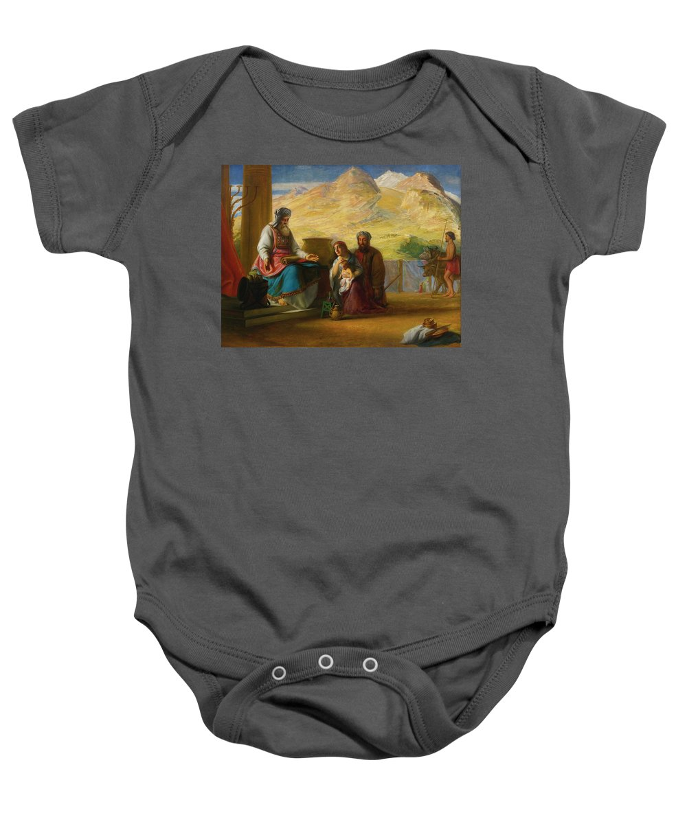 The Temple Of The Jews At Shilo. Hannah Presenting The Infant Samuel To The High Priest Eli By Solomon Alexander Hart Baby Onesie featuring the painting The Temple Of The Jews by MotionAge Designs