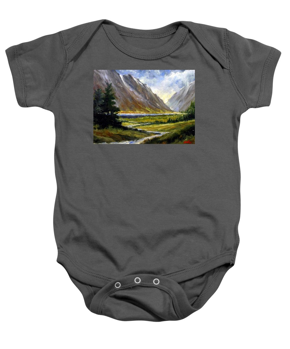 Mountains Baby Onesie featuring the painting The Tetons 05 by Jim Gola