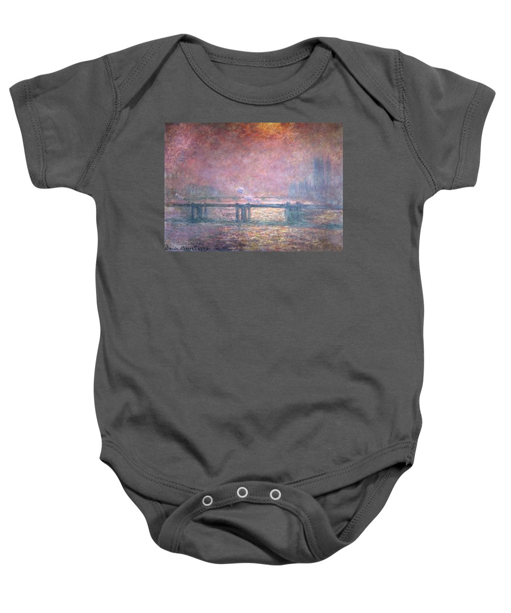 Monet Baby Onesie featuring the painting The Thames At Charing Cross by Claude Monet