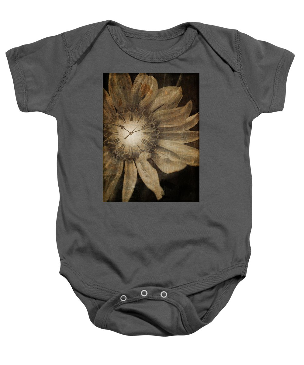 Clock Baby Onesie featuring the photograph The Time Keeper by Tara Turner