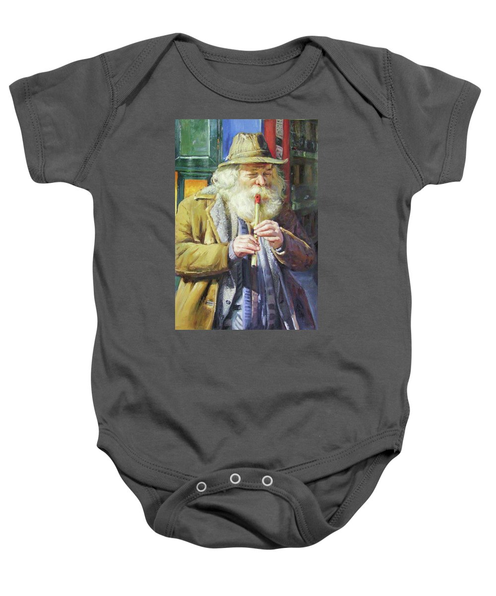 Traditional Music Baby Onesie featuring the painting The Tin Whistle by Conor McGuire