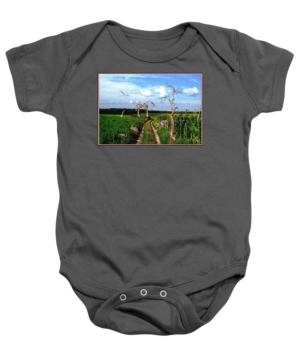 Modern Painting Baby Onesie featuring the mixed media The Tree Gave Its Branches 2 by Pemaro