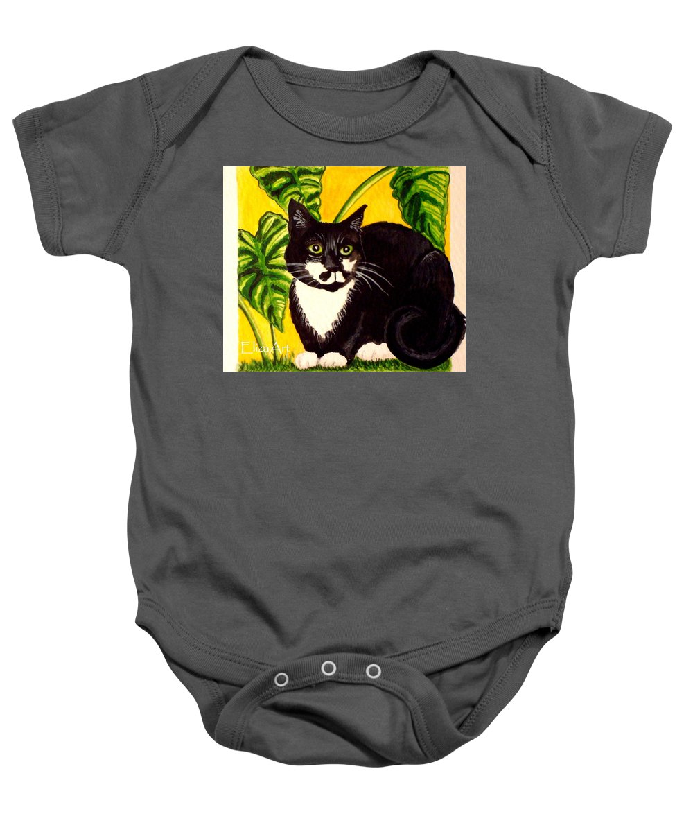 Watercolor Baby Onesie featuring the painting The Tropical Cat by Elizabeth Robinette Tyndall