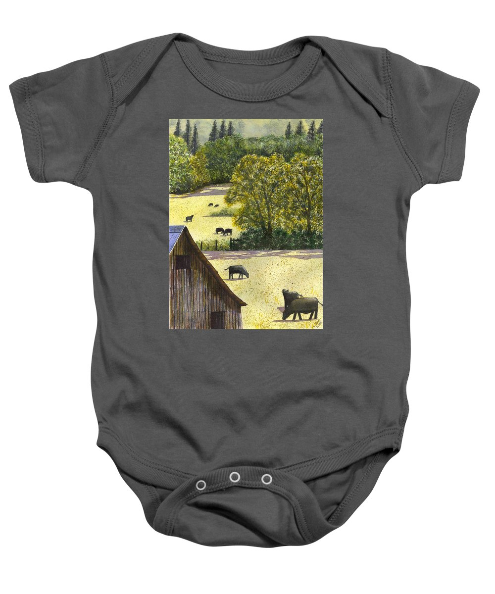 Landscape Baby Onesie featuring the painting The View From My Back Deck by Catherine G McElroy