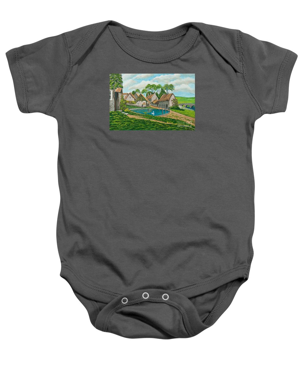 English Painting Baby Onesie featuring the painting The Village Pond In Wroxton by Charlotte Blanchard