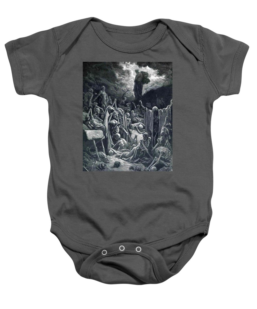 The Baby Onesie featuring the painting The Vision Of The Valley Of Dry Bones 1866 by Dore Gustave