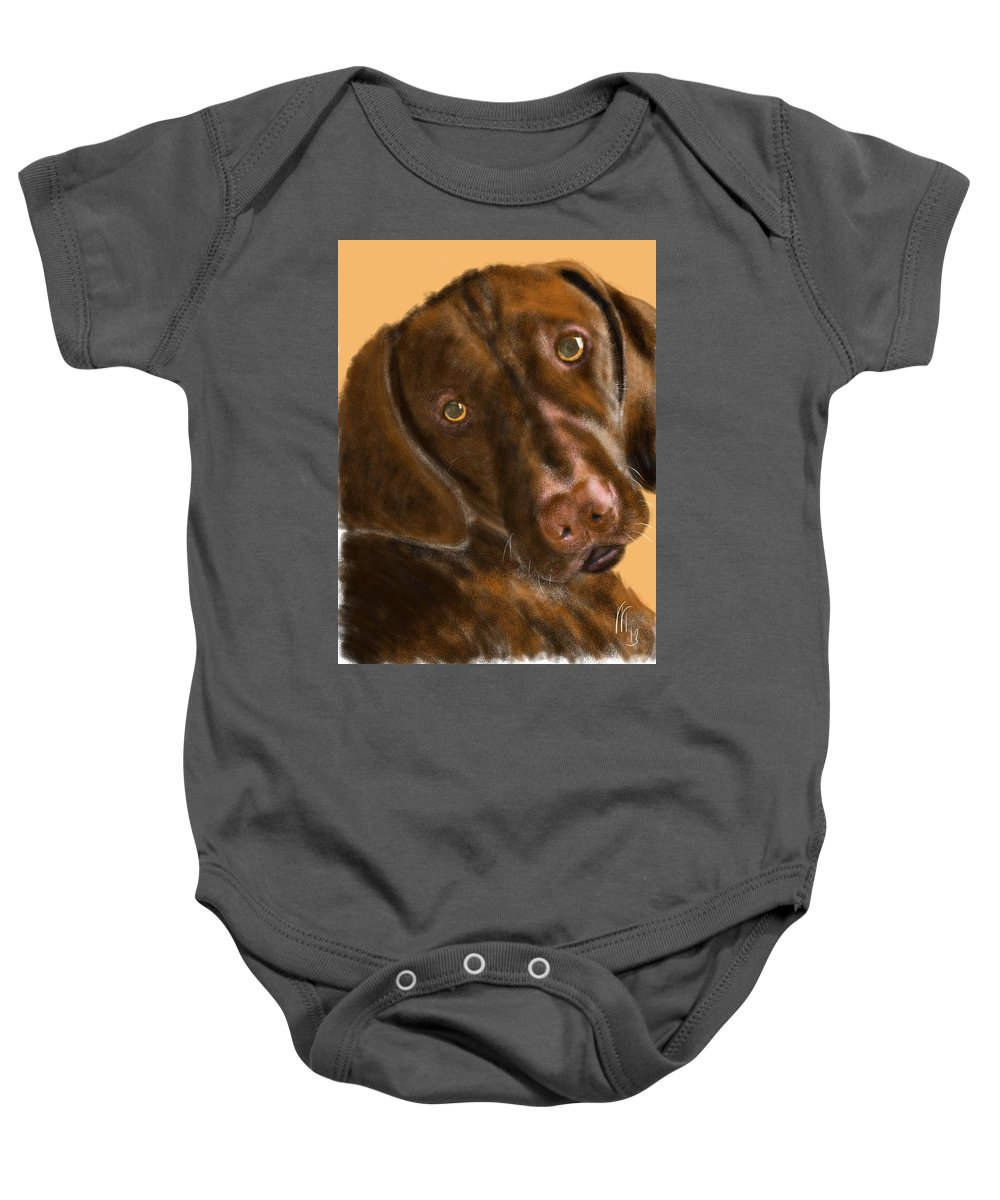 Vizsla Baby Onesie featuring the painting The Vizsla by Lois Ivancin Tavaf