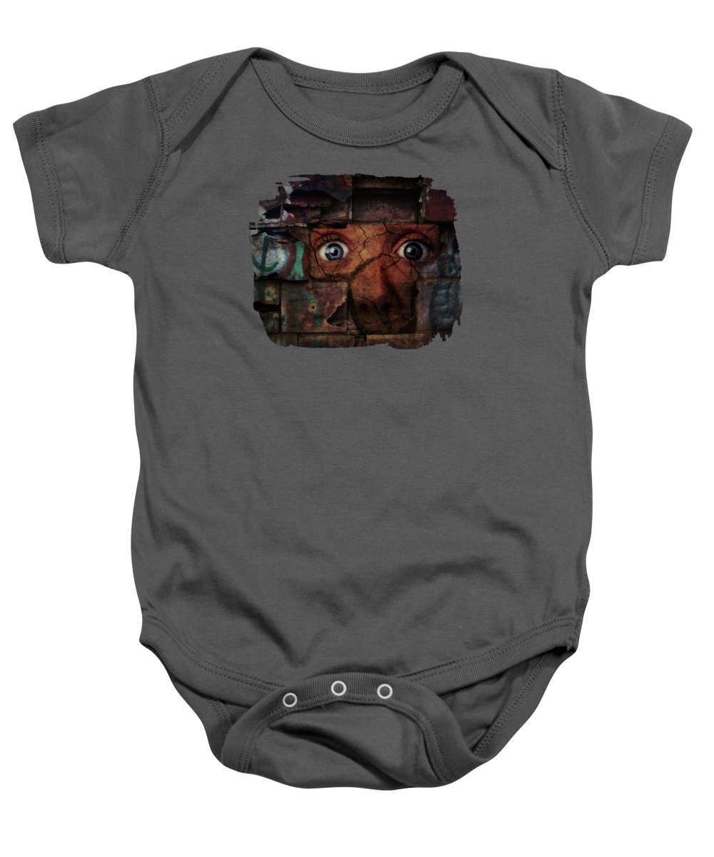 Grunge Baby Onesie featuring the digital art The Wall by Terry Fleckney