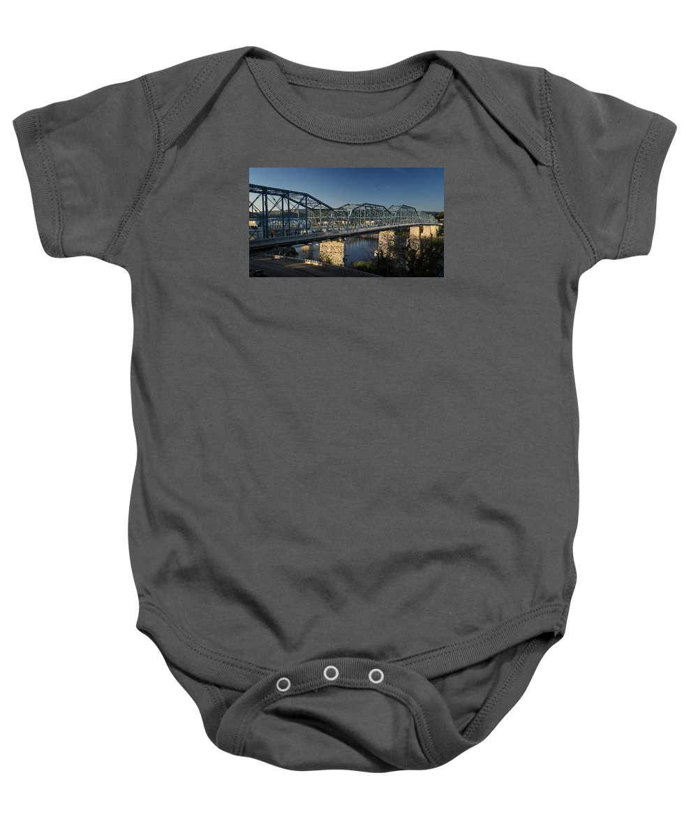 Bridge Baby Onesie featuring the photograph The Walnut St. Bridge by George Taylor