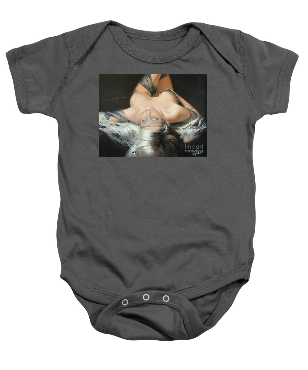 Art Baby Onesie featuring the painting The Widow by Sergey Ignatenko