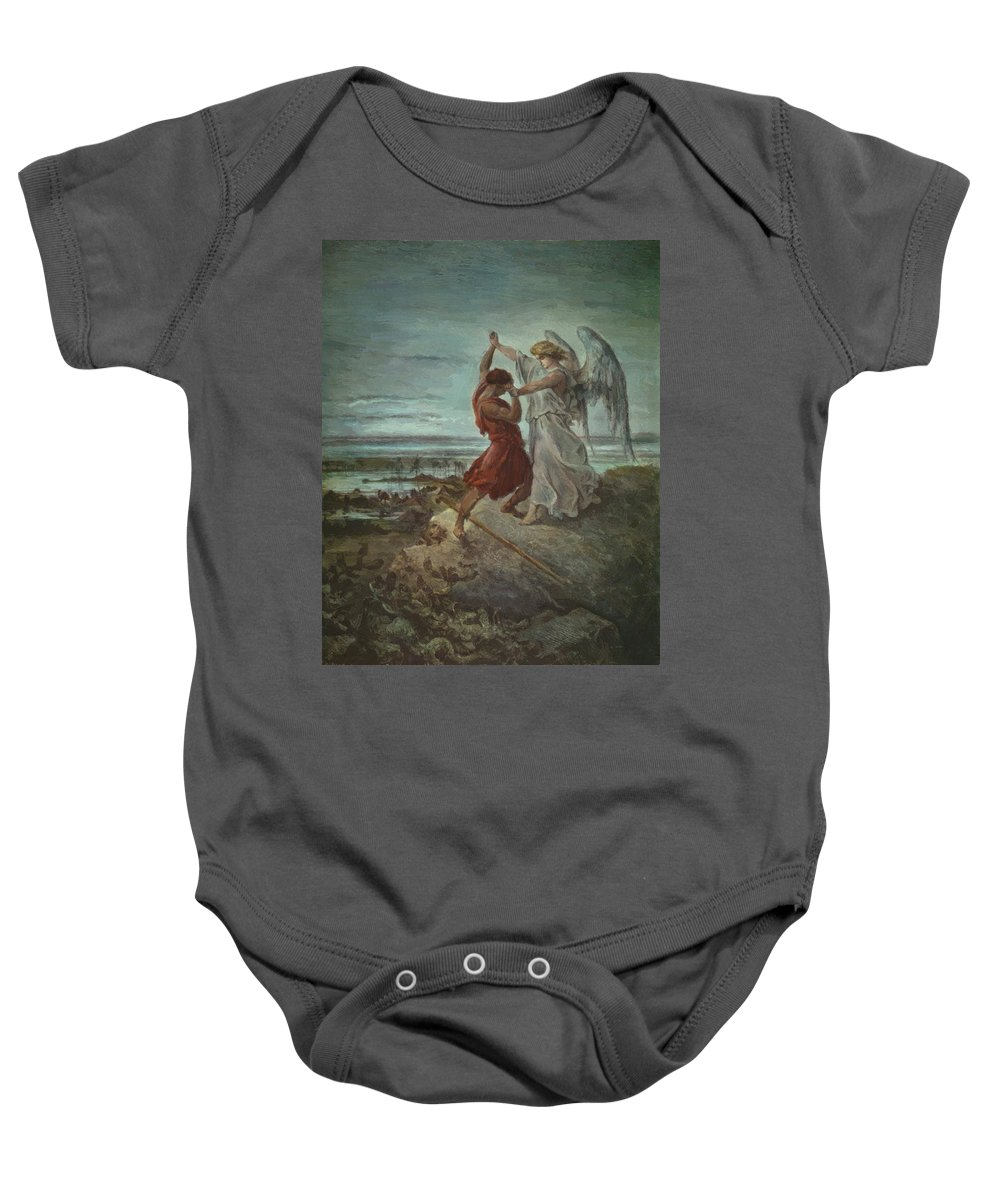 The Baby Onesie featuring the painting The Wrestle Of Jacob 1855 by Dore Gustave