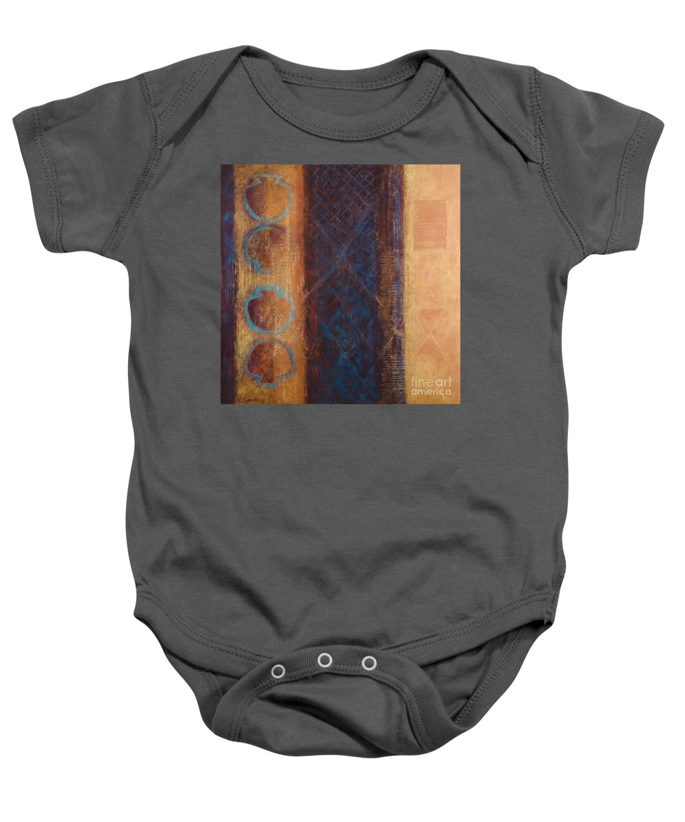Abstract Baby Onesie featuring the painting The X Factor Alchemy Of Consciousness by Kerryn Madsen-Pietsch