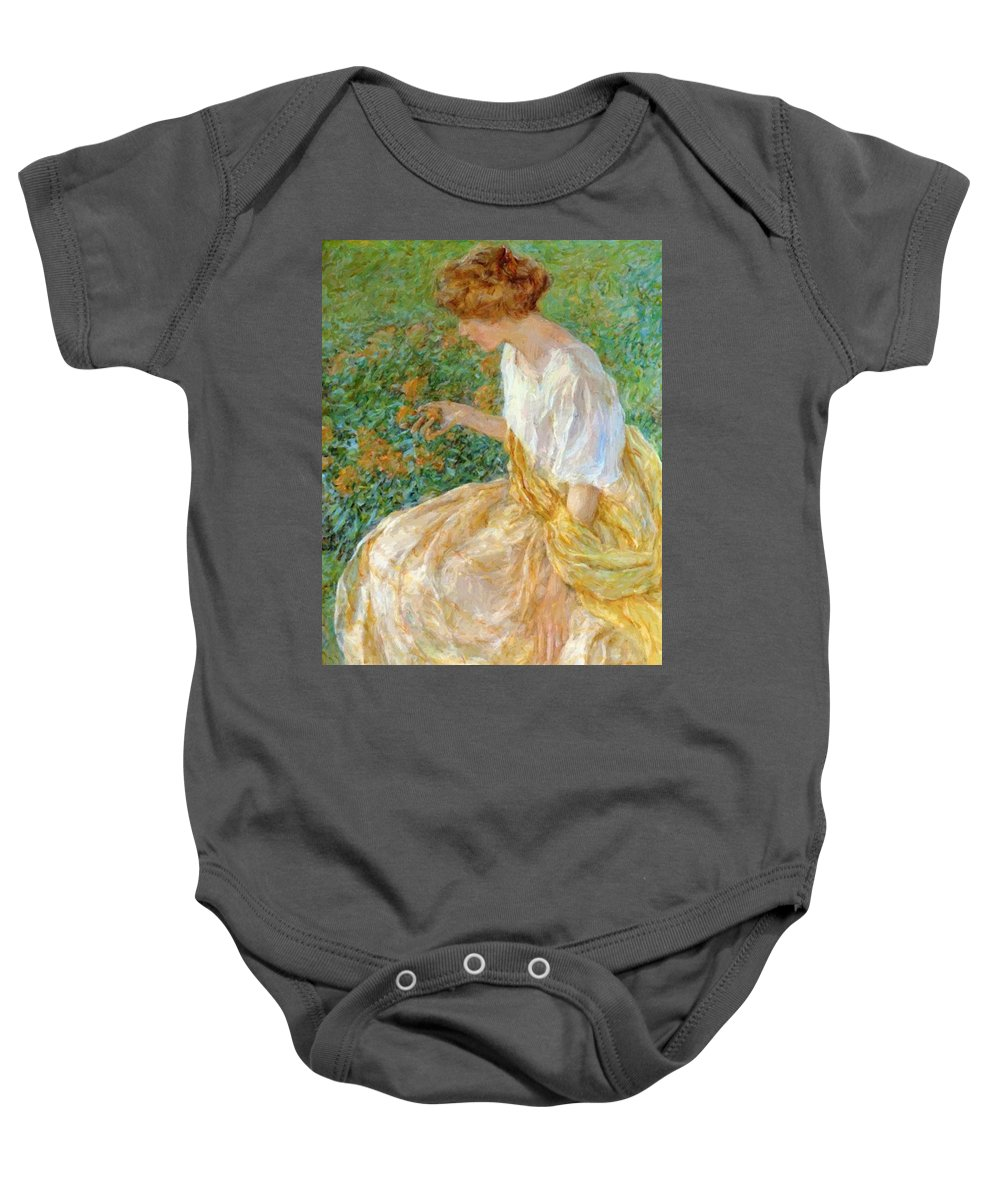 The Baby Onesie featuring the painting The Yellow Flower 1908 by Reid Robert Lewis