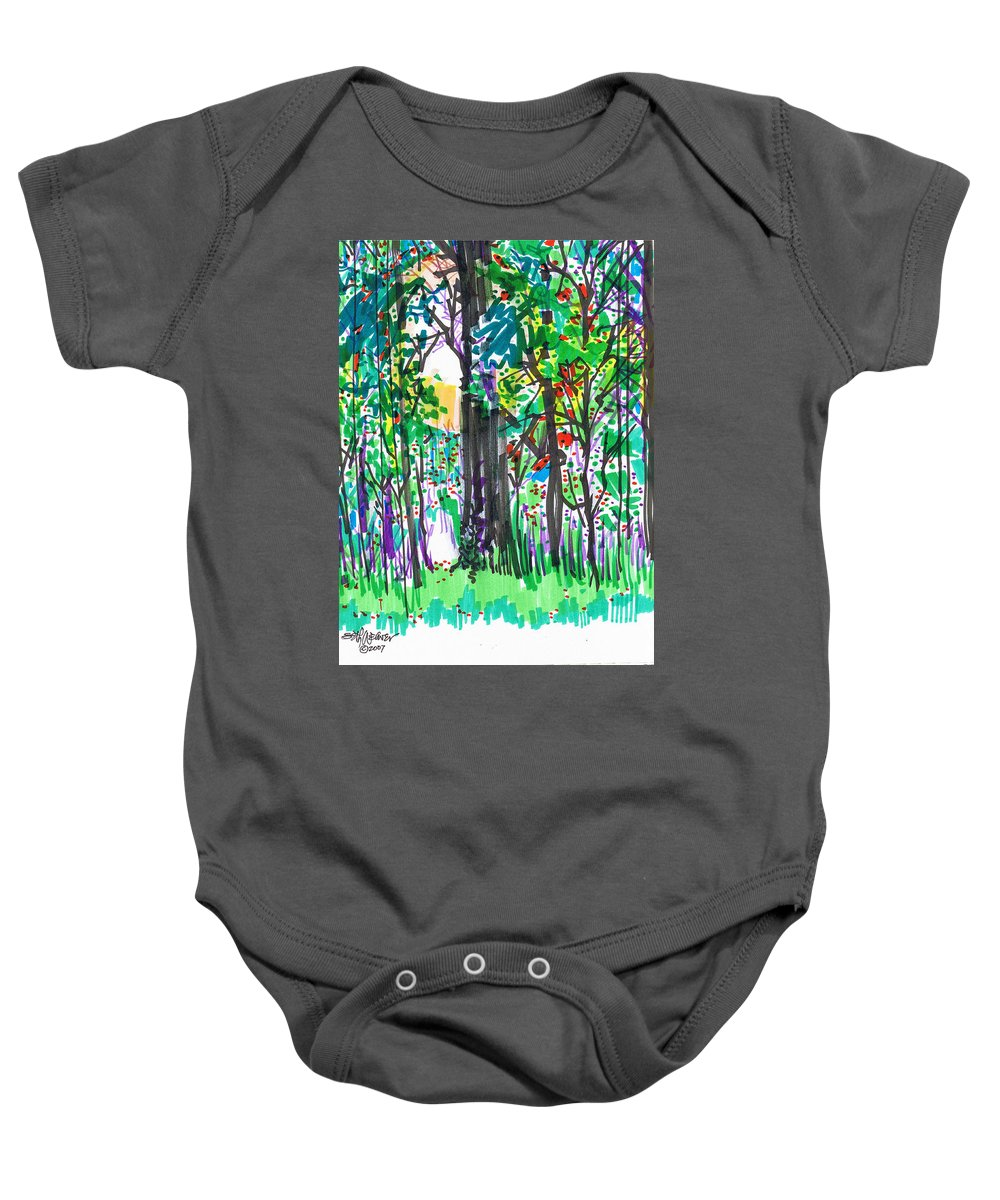 Forest Baby Onesie featuring the drawing Thicket by Seth Weaver