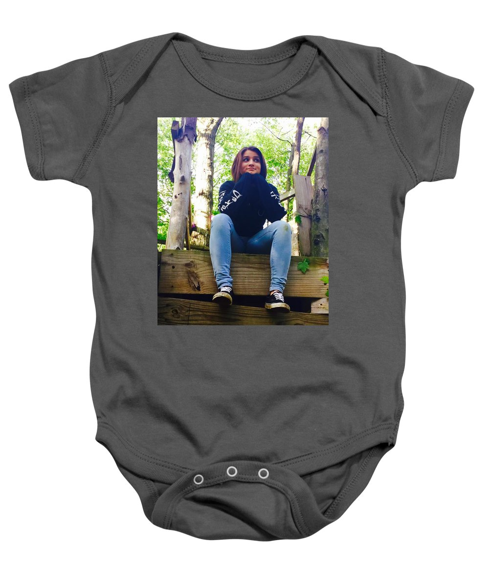 Outside Baby Onesie featuring the photograph Thinking by Christin Rivas