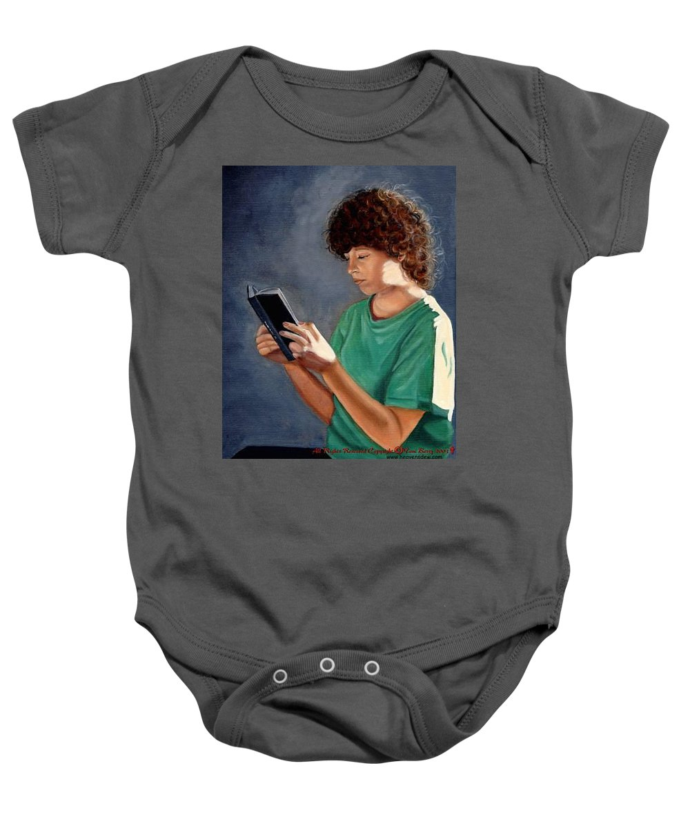 Portrait Baby Onesie featuring the painting Thirst For Knowledge by Toni Berry