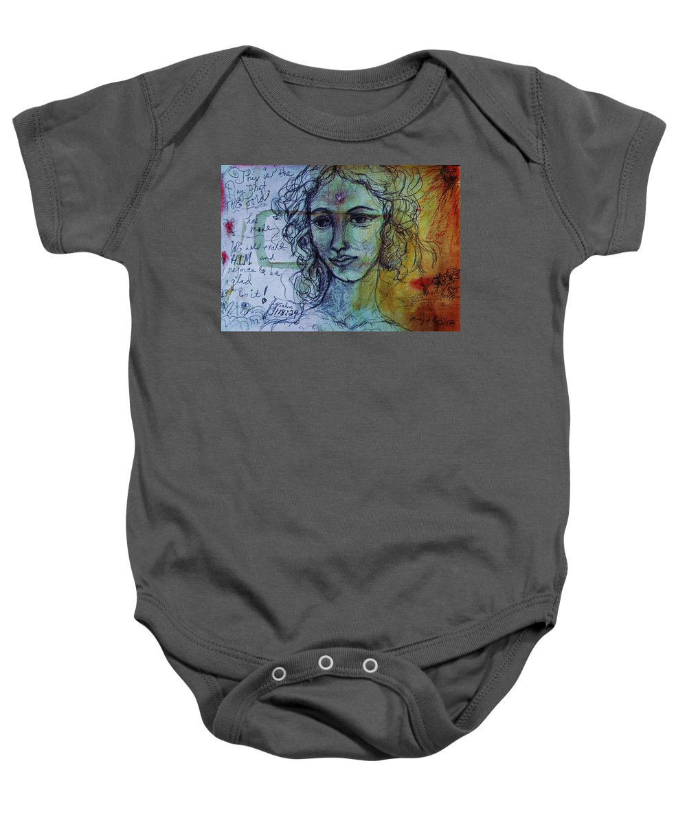 Leonardo Baby Onesie featuring the drawing This Is The Day Psalm 118 by Mykul Anjelo