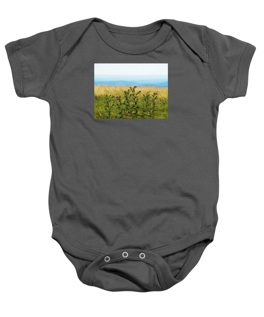 Purple Baby Onesie featuring the digital art Thistle On The Blue Ridge by Valerie Reeves
