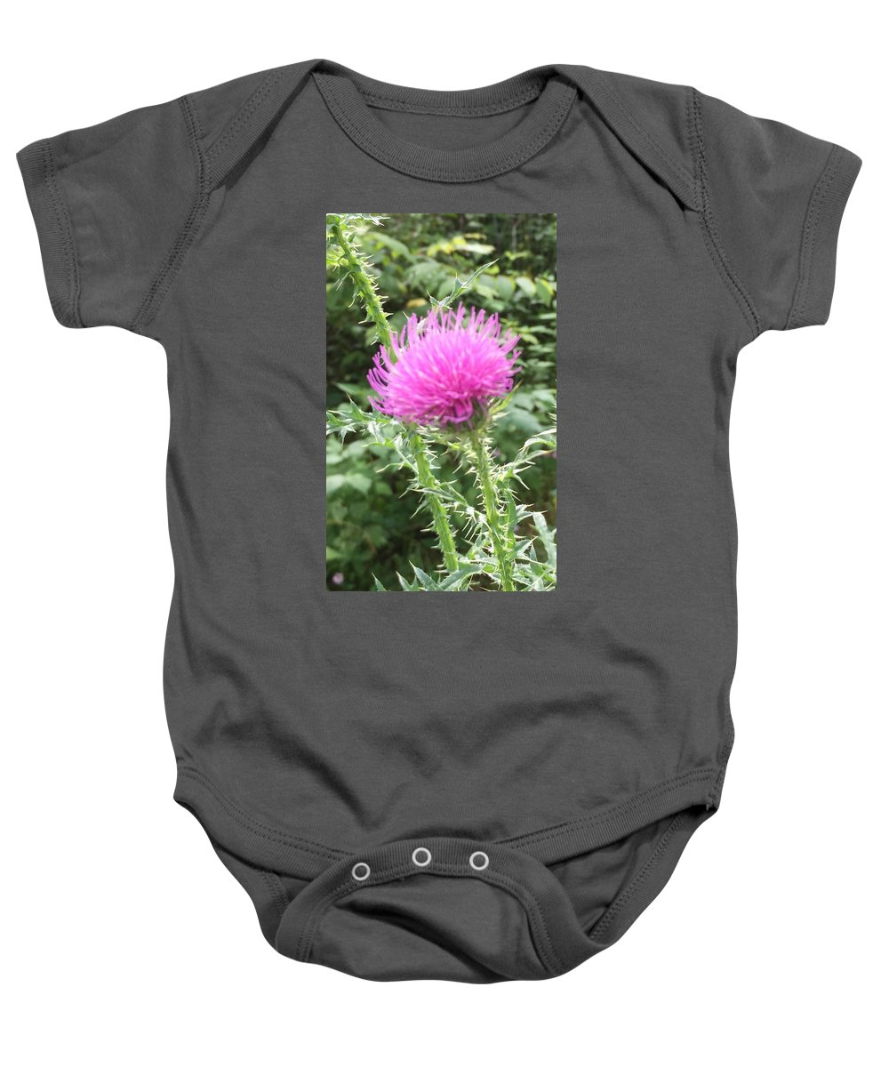 Flower Baby Onesie featuring the photograph Thistle by Sabina Trzebna
