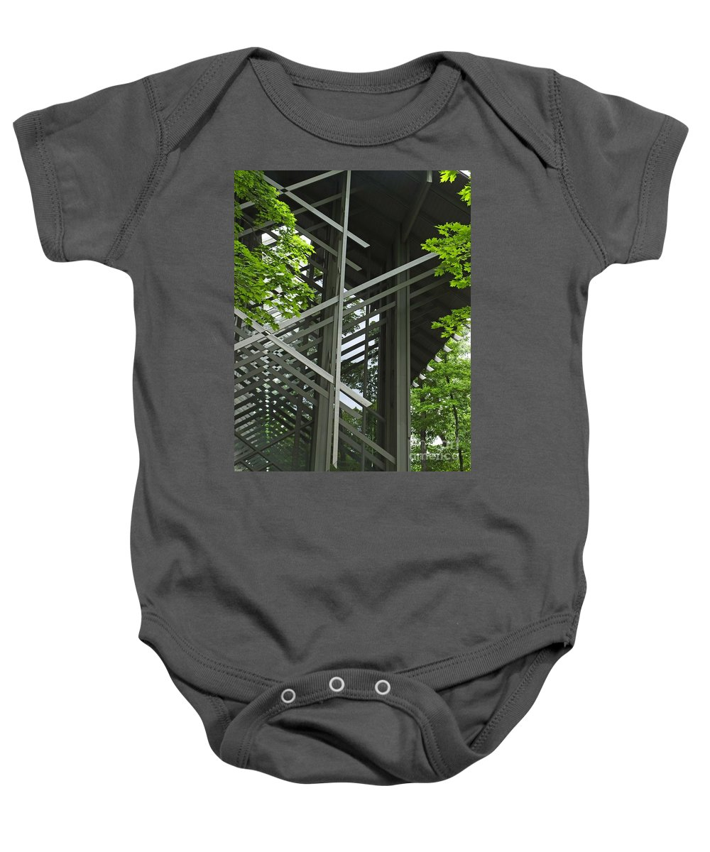Thorncrown Chapel Baby Onesie featuring the photograph Thorncrown Chapel Eureka Springs Ar Entry by Lizi Beard-Ward