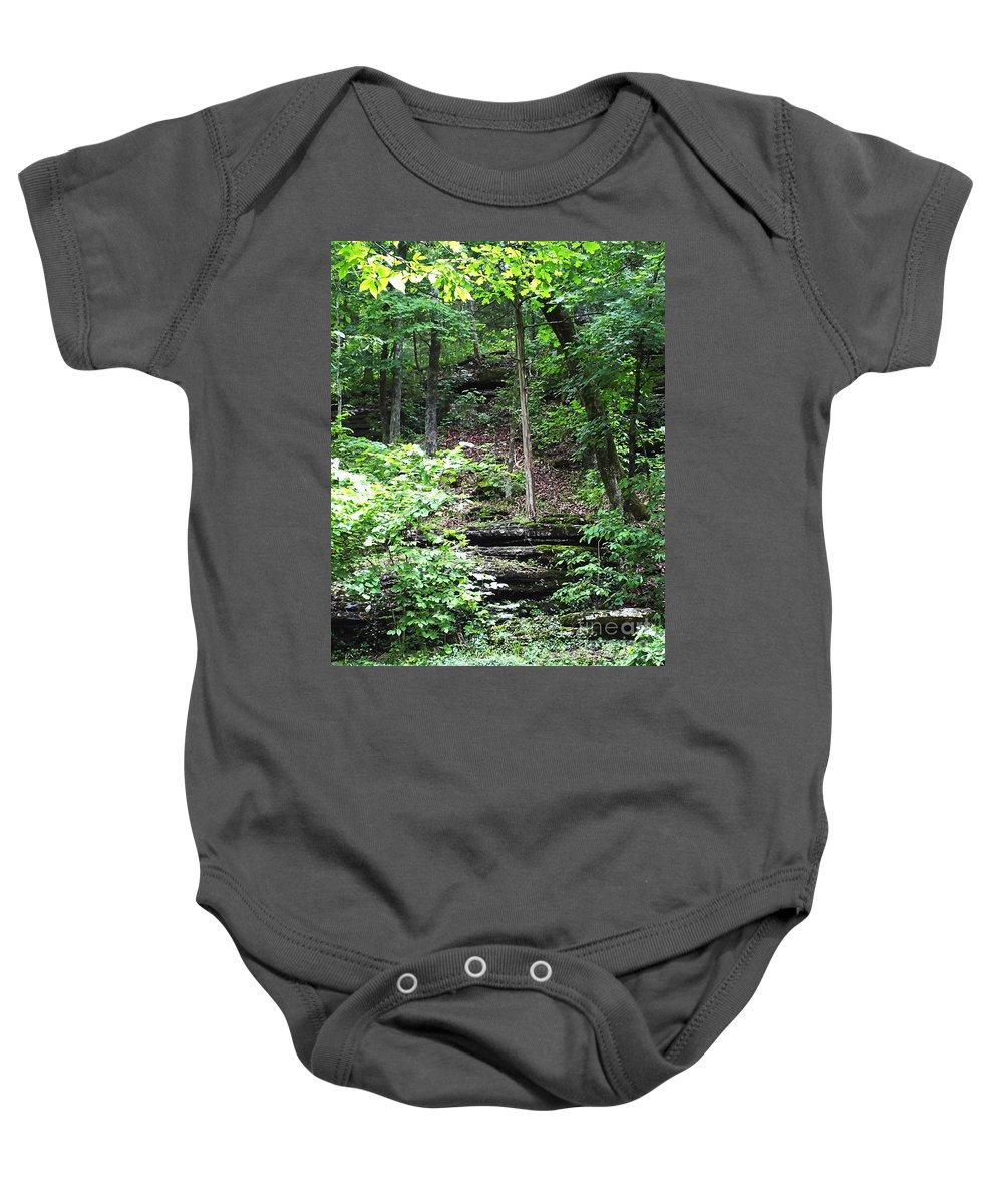 Mountains Baby Onesie featuring the photograph Thorncrown Chapel Setting In The Ozark Mountains by Lizi Beard-Ward