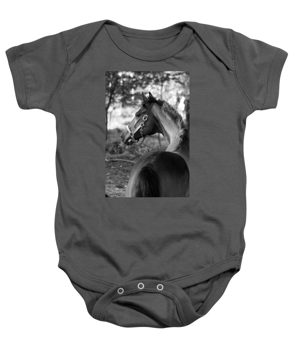 Thoroughbred Baby Onesie featuring the photograph Thoroughbred - Black And White by Angela Rath