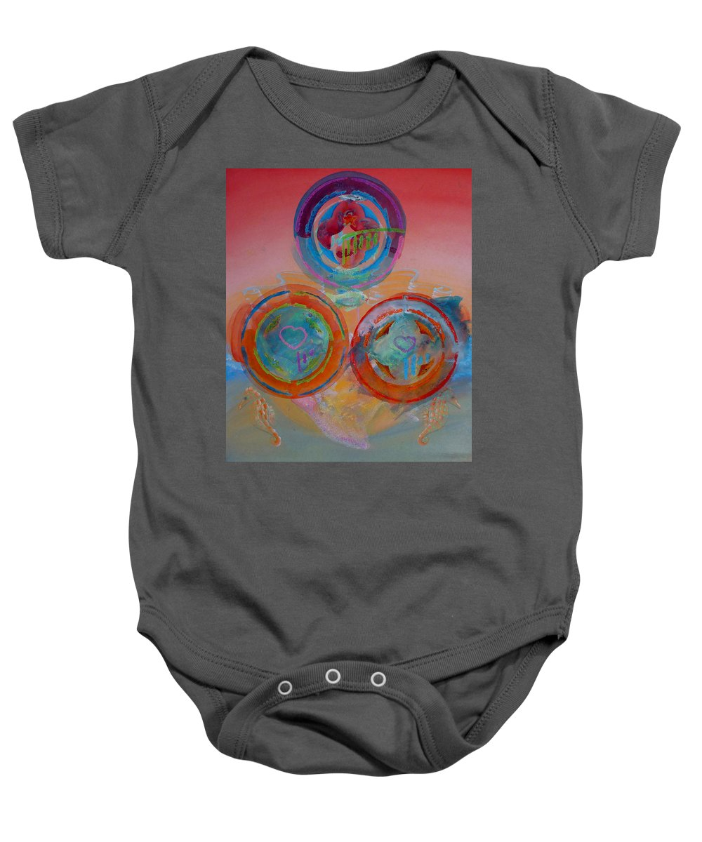Logo Baby Onesie featuring the painting Three On Marine by Charles Stuart