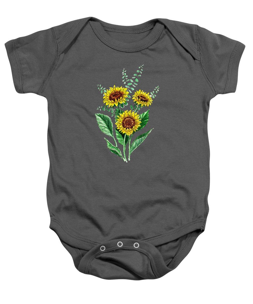 Sunflowers Design Baby Onesie featuring the painting Three Playful Sunflowers by Irina Sztukowski