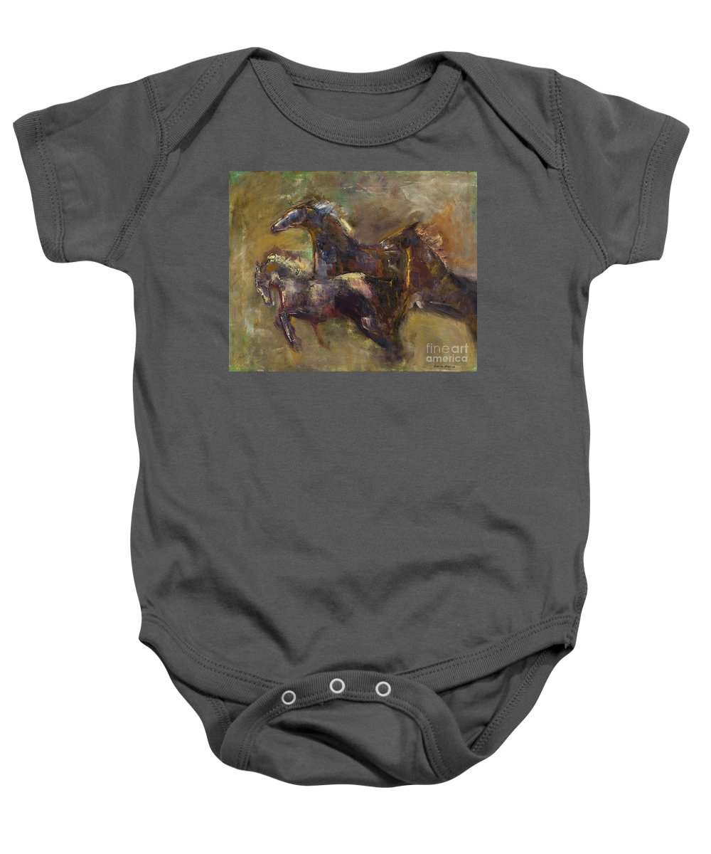 Horses Baby Onesie featuring the painting Three Set Free by Frances Marino