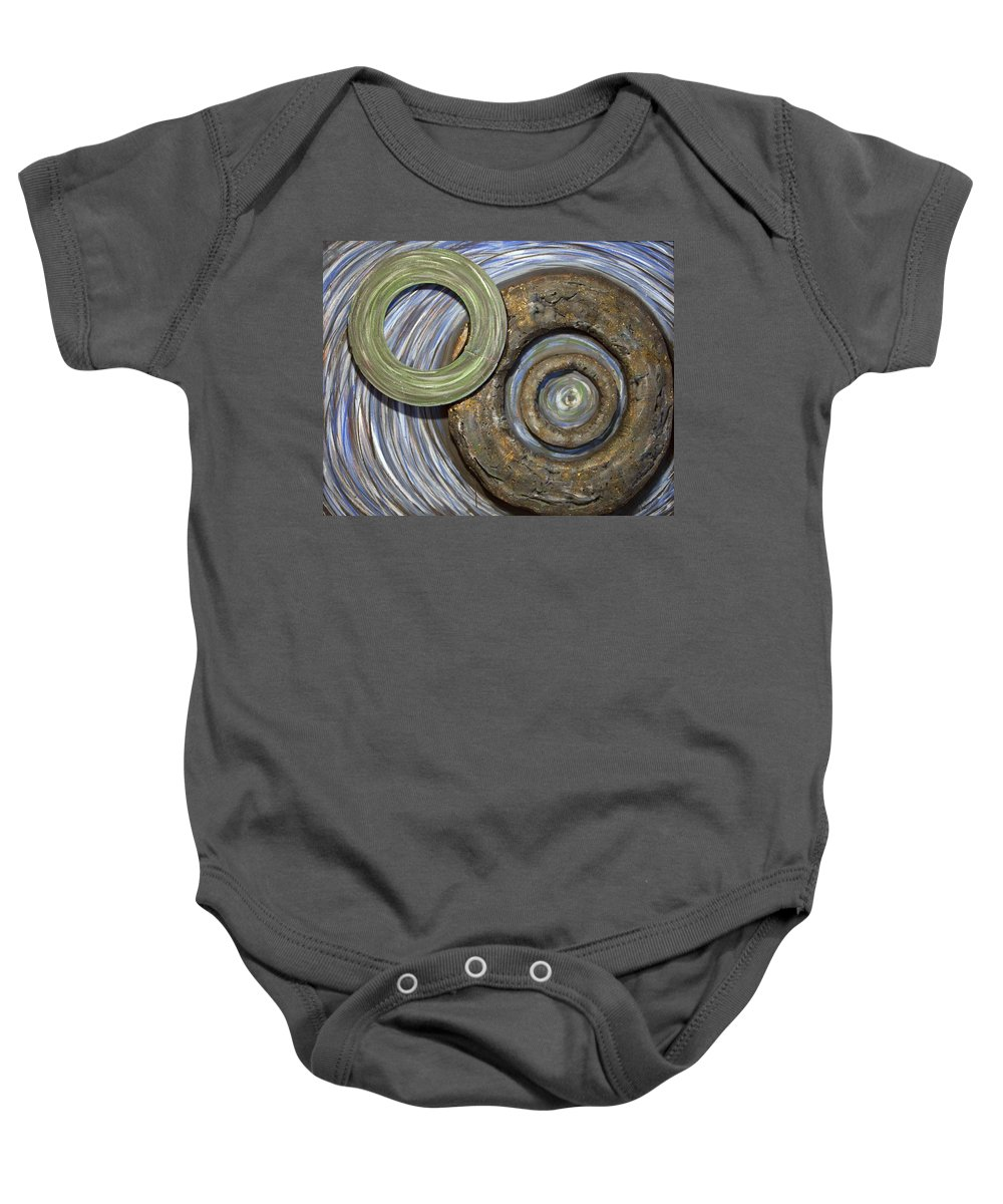 Circles Baby Onesie featuring the painting Threes A Crowd by Jacqueline Athmann