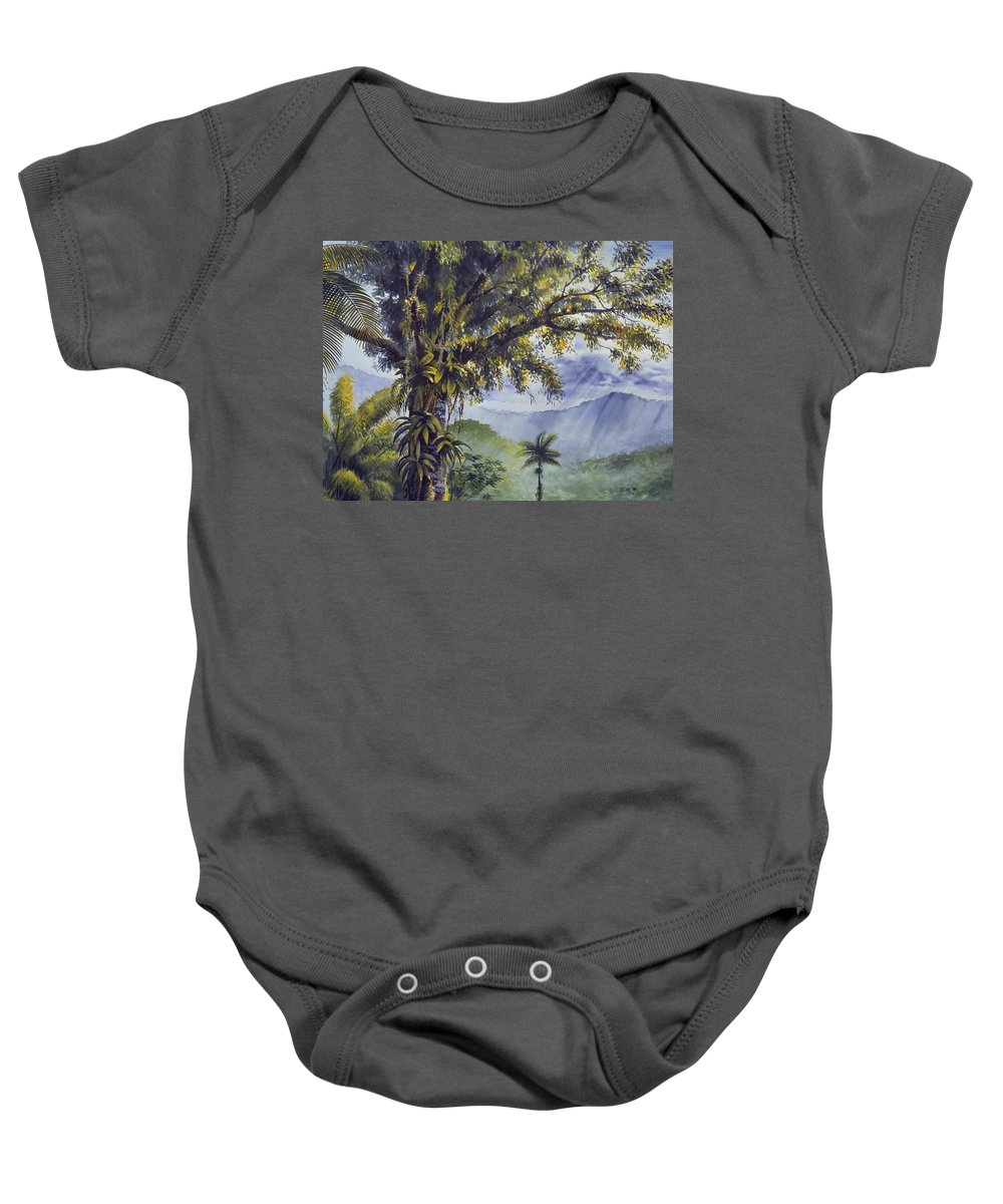 Chris Cox Baby Onesie featuring the painting Through The Canopy by Christopher Cox