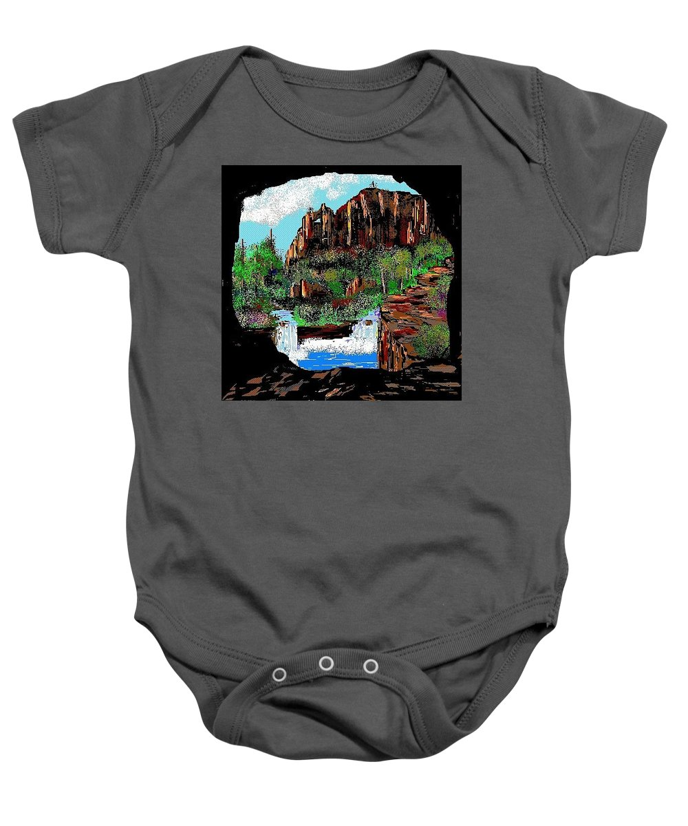 Nature Baby Onesie featuring the digital art Through The Cave by Patricia Hengeveld