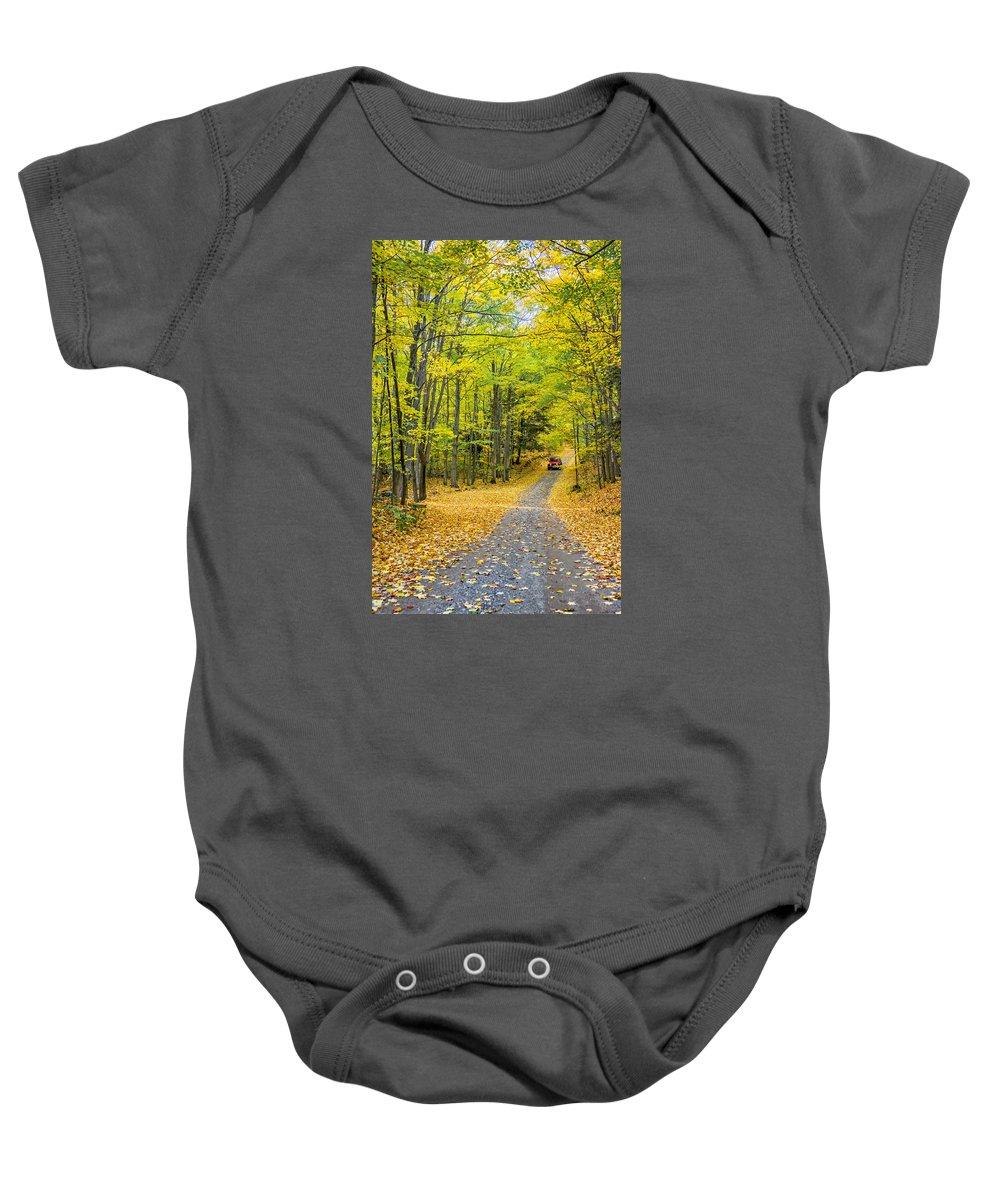 Steve Harrington Baby Onesie featuring the photograph Through Yellow Woods 2 by Steve Harrington