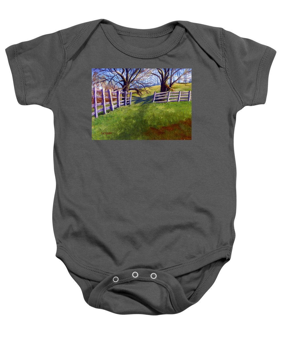 Pasture Baby Onesie featuring the painting Throught The Pasture Gate by Sharon E Allen