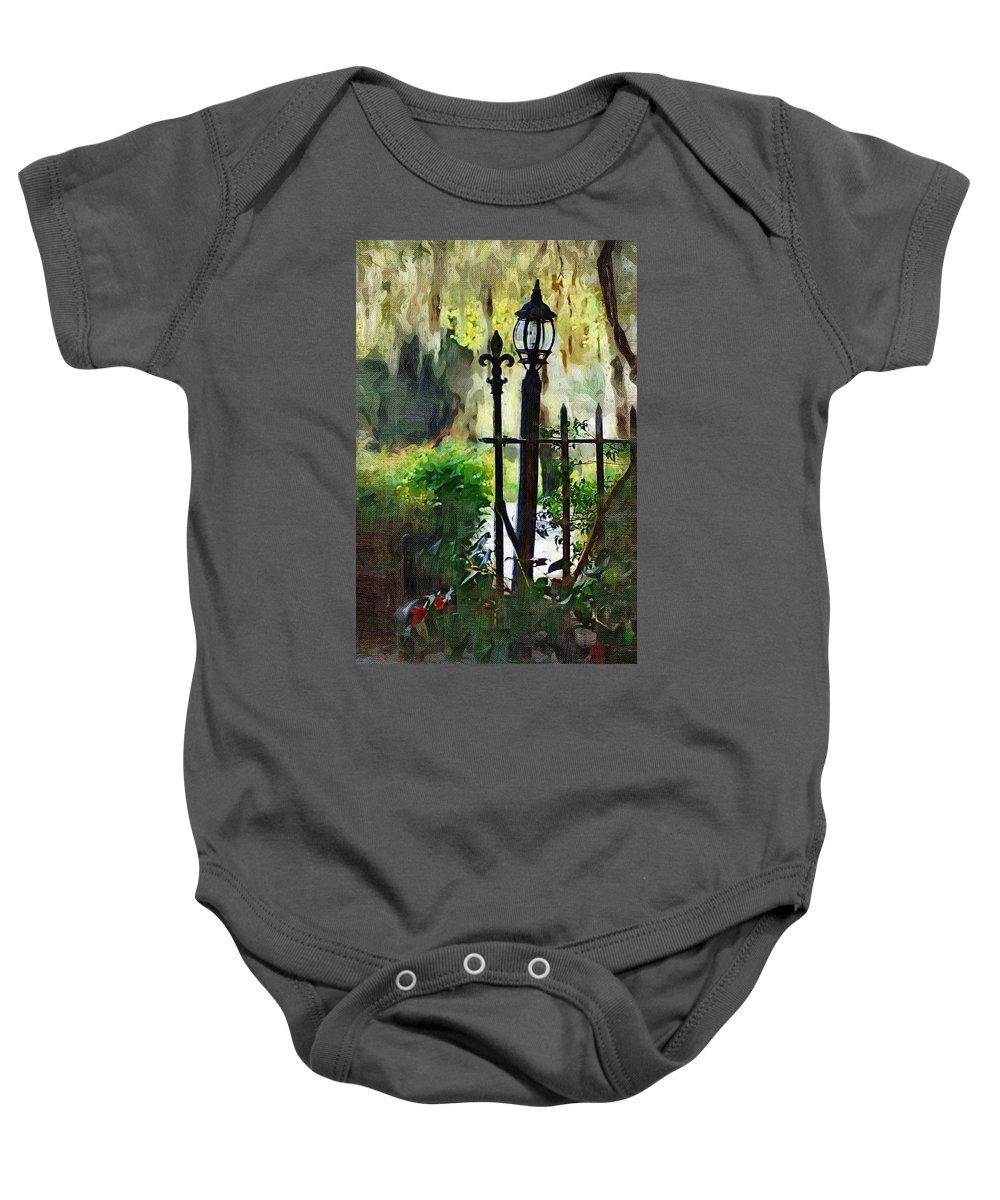 Gate Baby Onesie featuring the digital art Thru The Gate by Donna Bentley