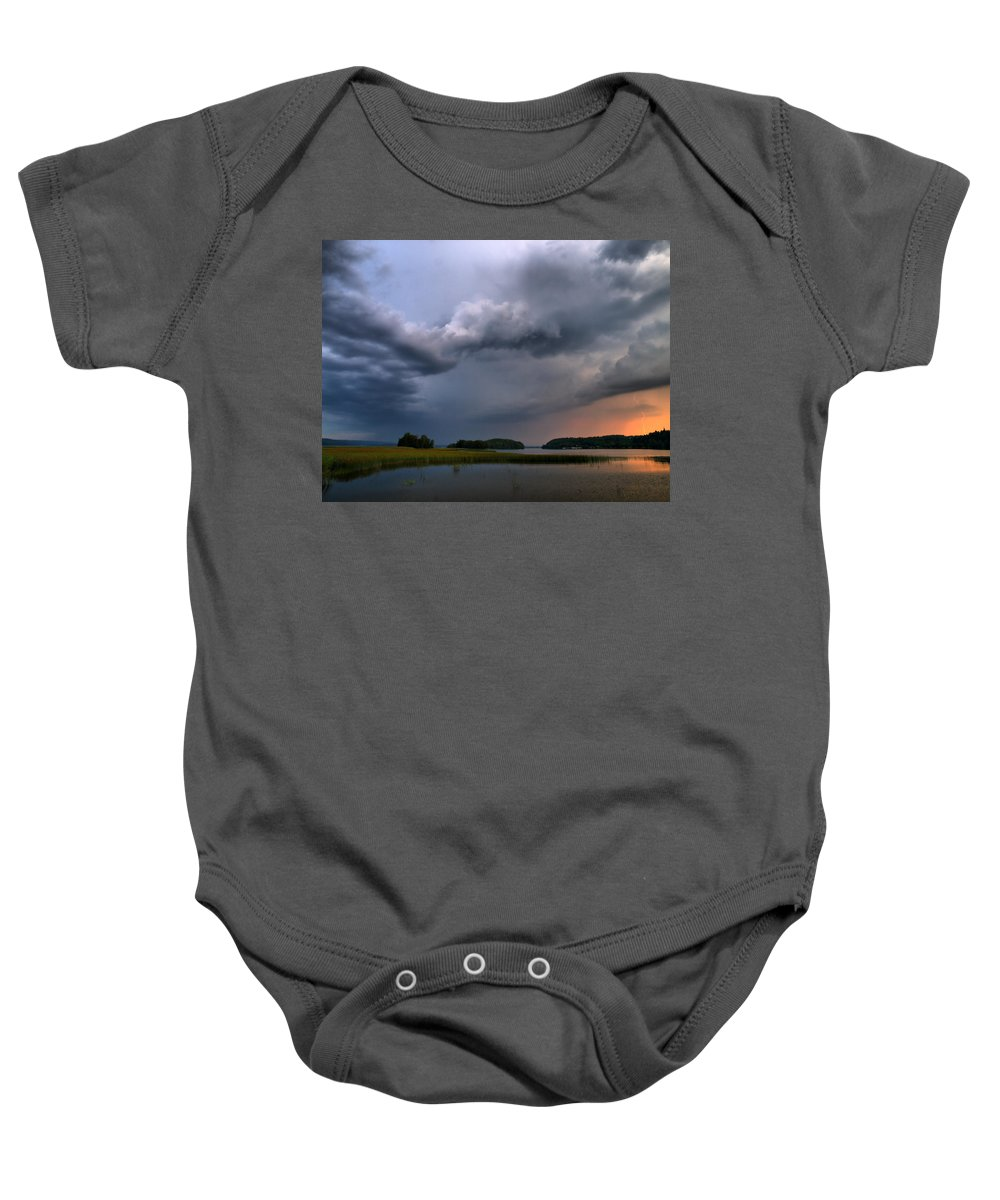 Lehtokukka Baby Onesie featuring the photograph Thunder At Siuro by Jouko Lehto