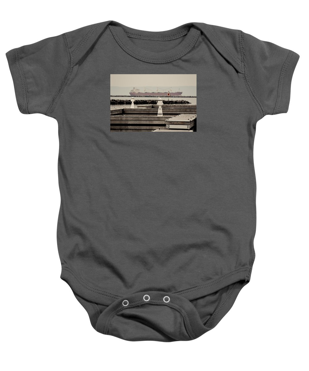 Thunder Baby Onesie featuring the photograph Thunder Bay Harbor by Nicholas Miller