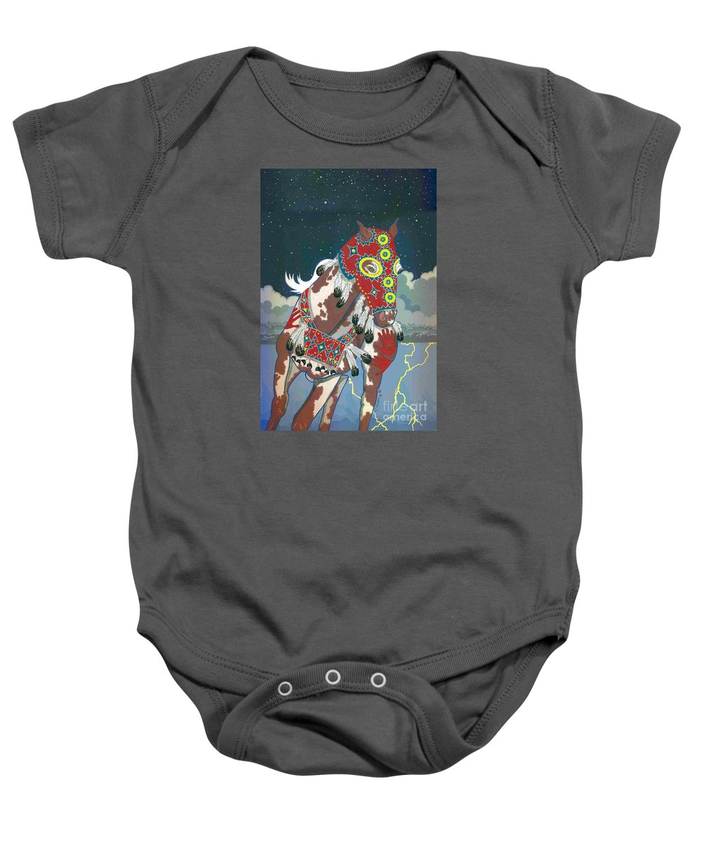 Native American Artwork Baby Onesie featuring the painting Thunder Pony II by Chholing Taha