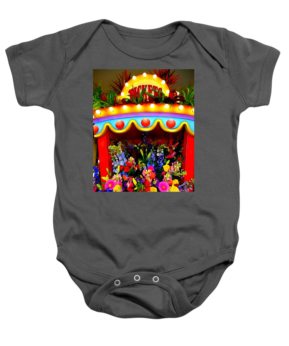 Flowers Baby Onesie featuring the digital art Ticket Booth Of Flowers by Ed Weidman