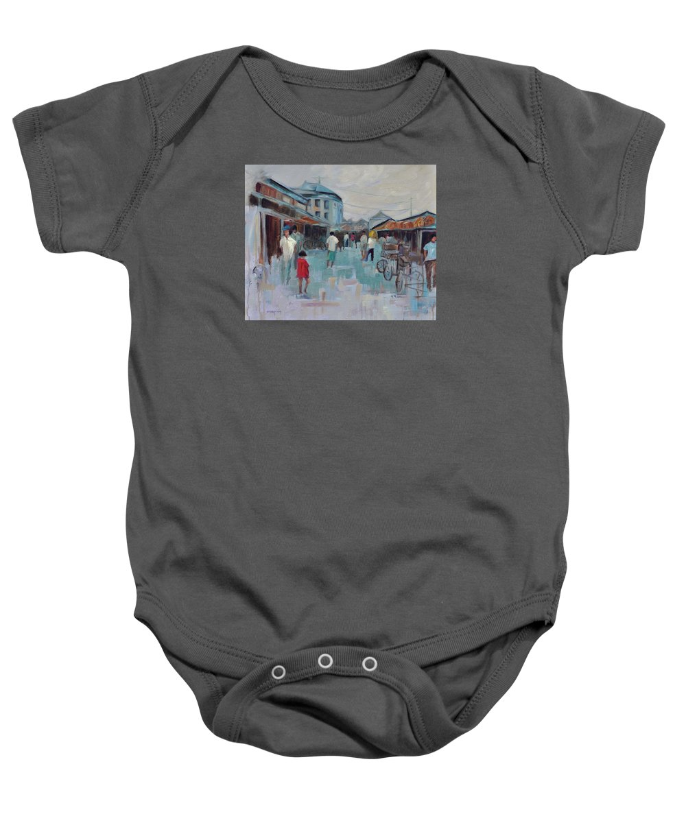 Taipei Villages Baby Onesie featuring the painting Tien Mou Village Taipei by Ginger Concepcion