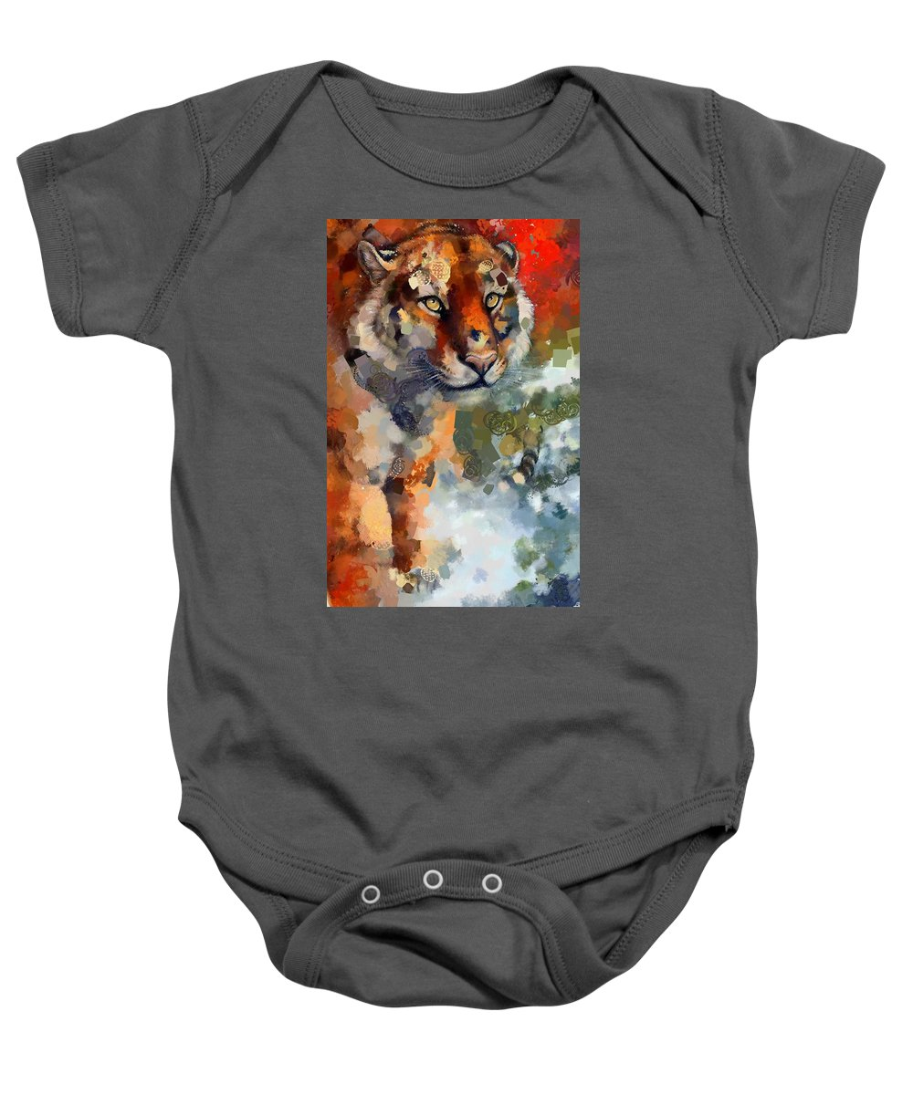 Tiger Hotty Totty Style Baby Onesie featuring the digital art Tiger Hotty Totty Style by Catherine Lott