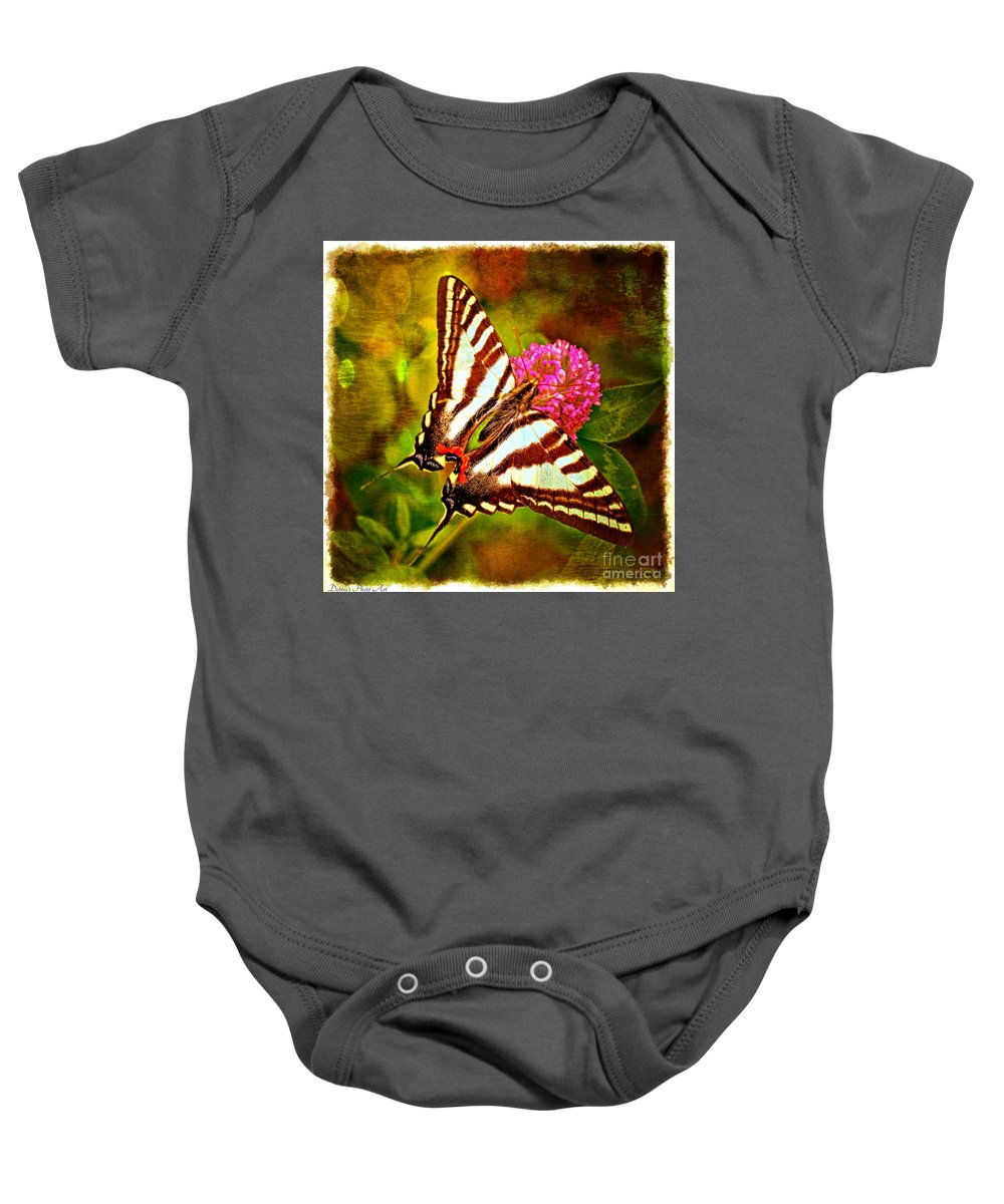 Nature Baby Onesie featuring the photograph Zebra Swallowtail Butterfly - Digital Paint 3 by Debbie Portwood