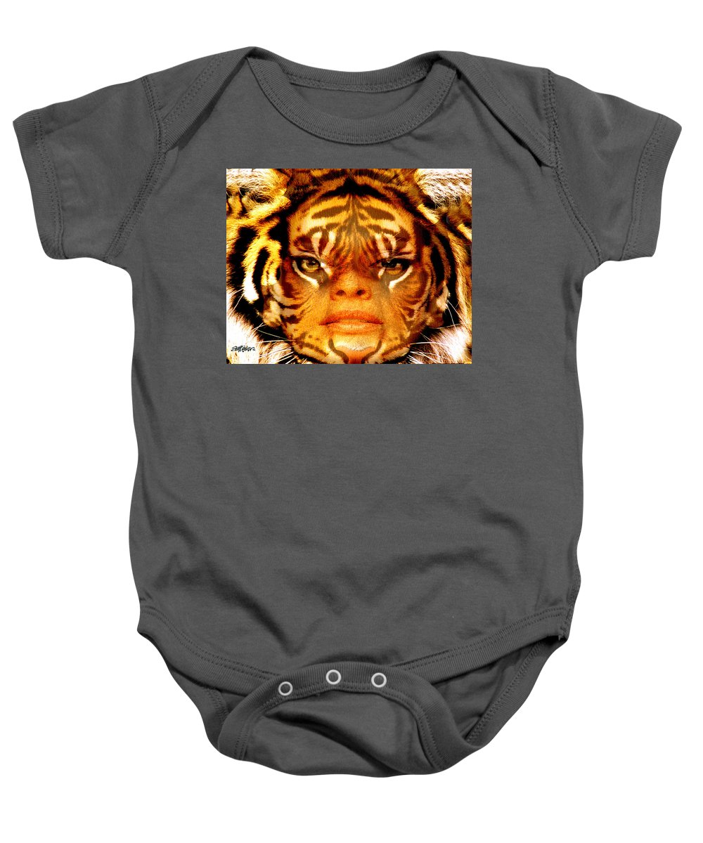 Tigress Baby Onesie featuring the photograph Tigress by Seth Weaver
