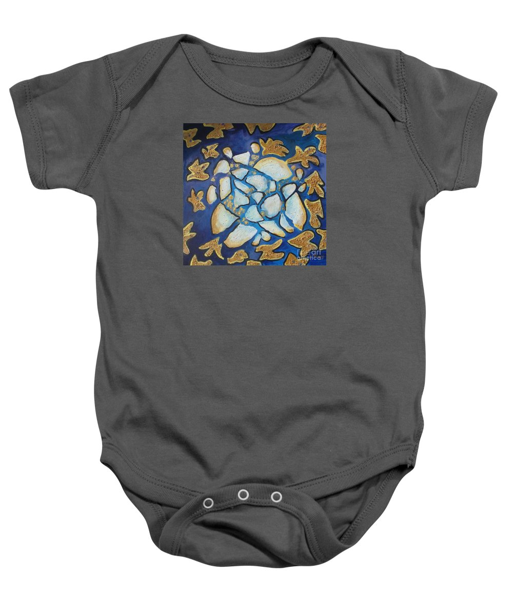 Abstract Baby Onesie featuring the painting Tikkun Olam Heal The World by Laurie Morgan
