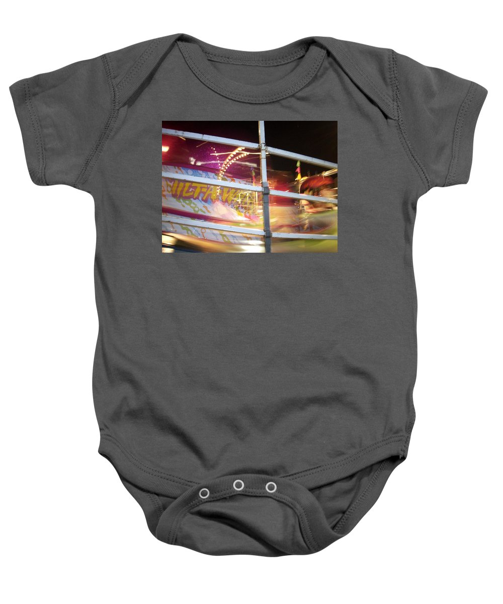 State Fair Baby Onesie featuring the photograph Tilt-a-whirl 1 by Anita Burgermeister