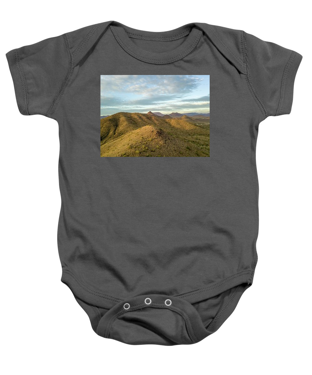 Drone Photography Baby Onesie featuring the photograph Tilt-shift Mountains In Sun by David Stevens