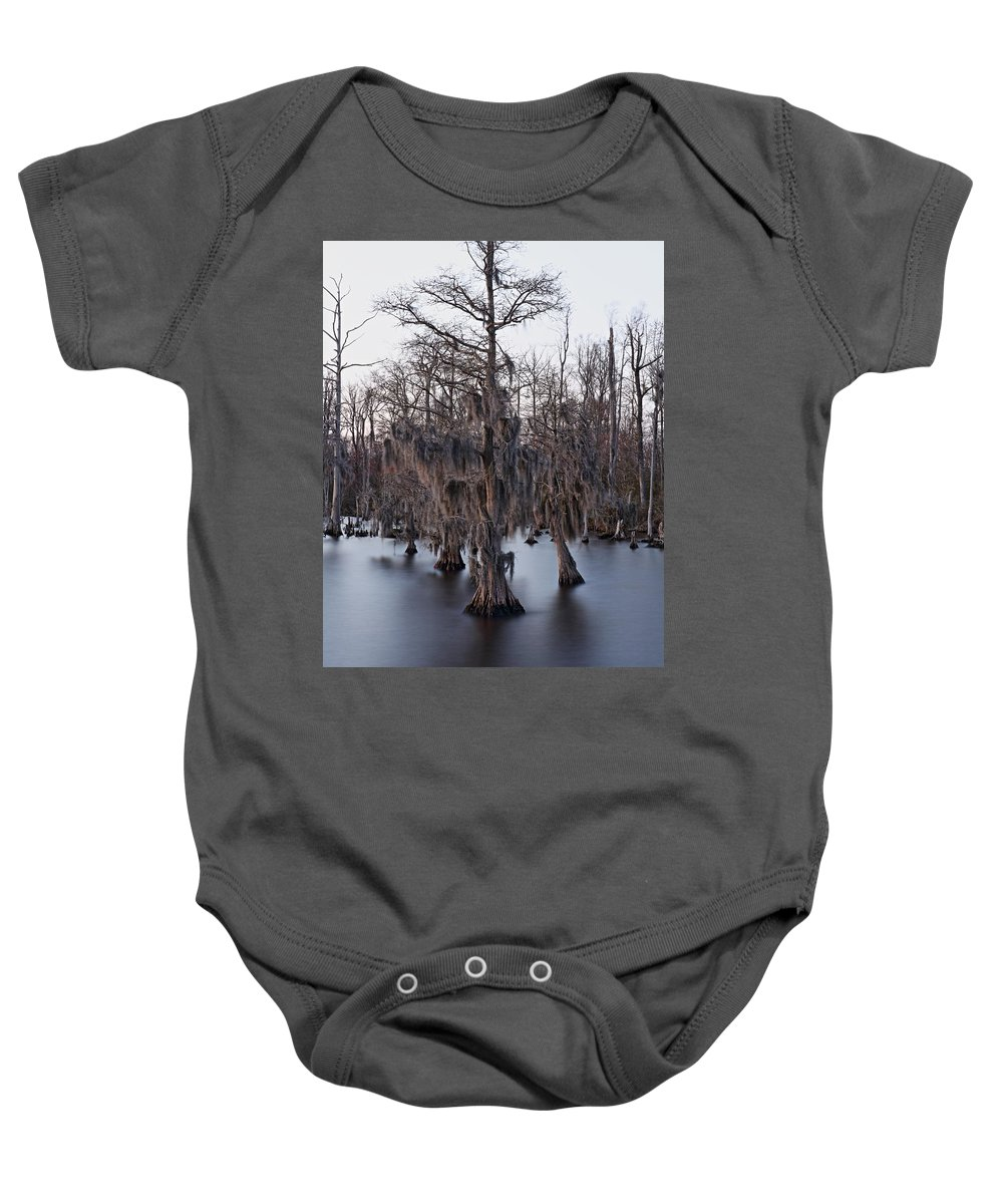 Cypress Baby Onesie featuring the photograph Time And Cypress by April Copeland
